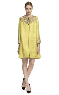 Marchesa Embellished Metallic Weave Coat and Shift Dress