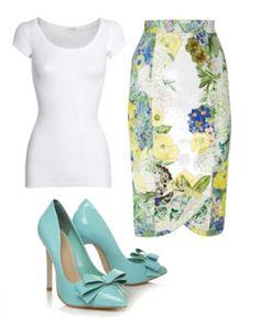 white t-shirt and high waist skirt