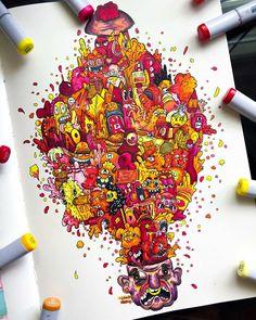 Doodle Art Designs, Doodle Ideas, Doodle Inspiration, Copic Marker Art, Copic Art, Doddle Art, Graffiti Doodles, Sketchbook Drawings, Art Inspo