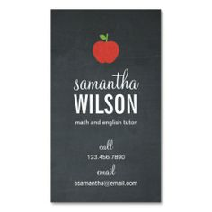 Chalkboard Apple Teacher Business Card. I love this design! It is available for customization or ready to buy as is. All you need is to add your business info to this template then place the order. It will ship within 24 hours. Just click the image to make your own!