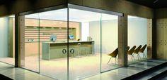 Swipe corner door - all glass http://www.dashdoor.com/services/interior-sliding-glass-door-systems/ sliding glass doors interior - Google Search