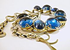 800 Silver Necklace by KAFIN Blue Glass by RenaissanceFair on Etsy
