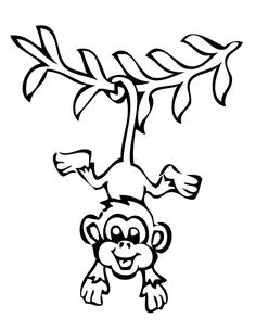 monkeys drawings | hanging monkey drawing monkey hanging from tree ... - Coloring Pages Monkeys Trees