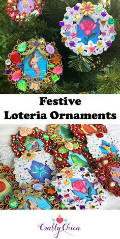 Glitter & Gem Loteria Ornaments - The Crafty Chica Christmas Ornament Crafts, Christmas Tree Themes, Xmas Tree, Christmas Diy, Mexican Christmas, Glitter Crafts, Crafty Projects, Craft Tutorials, Fun Crafts