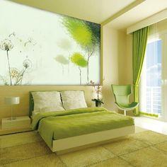 Зеленая спальня дизайн фото.