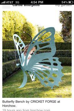 Butterfly Garden Bench - for my dream garden Unique Furniture, Garden Furniture, Outdoor Furniture, Furniture Design, Wicker Furniture, Cheap Furniture, Discount Furniture, Furniture Ideas, Furniture Outlet