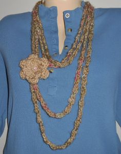 Crocheted double chain necklace with flower by CrochetByTeresa, $14.00