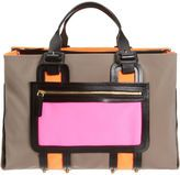 Neutral Color Block bag with a pop of color