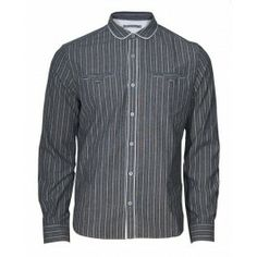 """Trinity Shirt with concealed inside """"dinner money"""" pocket, signature hawk embroidery and antique-effect buttons. Grey Stripes, Shirt Dress, Mens Tops, Shirts, Buttons, Pocket, Money, Embroidery, Antique"""