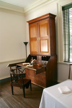 Jefferson's desk in the South Pavilion, where he presumably planned the construction of the main house.