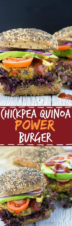These vegan chickpea quinoa power burgers are packed with protein, veggies, and flavor! Vegan fast food at its best!