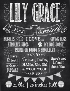First birthday poster. Could do one every year and frame in her room?