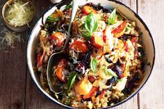 Roasted Vegetable and Caramelised Garlic Barley Risotto.