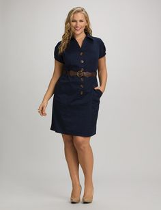 Plus Size | Dresses | Casual Dresses | Plus Size Belted Shirtdress | dressbarn