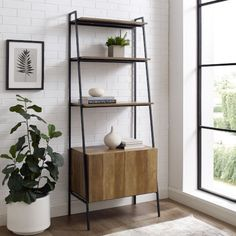 Industrial Modern Ladder Bookcase w/ Cabinet in Reclaimed Barnwood - Walker Edison your home with this ladder bookshelf with cabinet, as it will make an ideal functional and stylish accent. Features three shelves and a lower cabine Wood Ladder Shelf, Ladder Bookshelf, Bookcase Storage, Bookshelves, Bookshelf Styling, Urban Industrial, Industrial Style, Reclaimed Barn Wood, Wall Decor