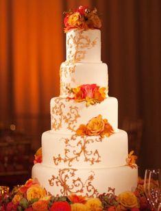 Fall Theme Orange Wedding Cake Wedding Cake - Cake Ideas by ...