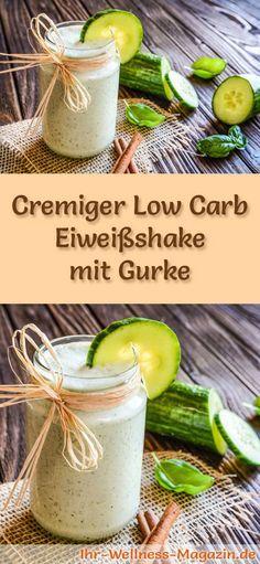 Eiweißshake mit Gurke selber machen - ein gesundes Low-Carb-Diät-Rezept für Frühstücks-Smoothies und Proteinshakes zum Abnehmen - ohne Zusatz von Zucker, kalorienarm, gesund ...