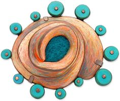Phagocytosis brooch by Annie Pennington ... sterling silver, copper, polymer, handmade wool felt and colored pencil