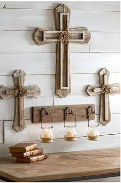 """Display a touch of your spirit in your home with these lovely rustic wood crosses. Available in 15"""" and 24"""" 2 Styles 15"""" Dimensions: 15.5""""H x 11.5""""W x 1""""D"""