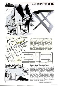CAMP STOOL Popular Mechanics - Google Books  Popular Mechanics August 1963 page 164,  CAMP STOOL,  Easy woodworking project.