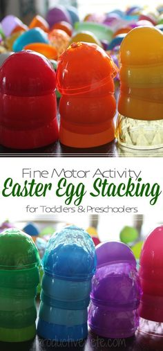 Fun Easter Egg Idea for Kids! This Easter Egg Stacking Activity is a great spring Toddler Activity. Add extra steps and it becomes perfect for a Preschool Activity too! Fine Motor Skills, Color Recognition, Counting, Patterns & so much more. Spring Activities, Motor Activities, Toddler Activities, Classroom Activities, Eyfs Activities, Toddler Games, Toddler Classroom, Counting Activities, Indoor Activities