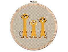 Cute Meerkats Counted Cross stitch Pattern PDF by KHANNAandILAN
