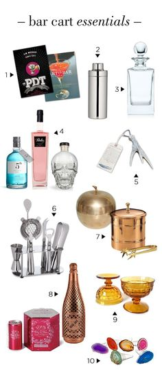 Bar Cart Essentials - A dream bar cart needs 10 essentials and these will do perfectly! If you want to see the full list or where these items are from just click through the picture!