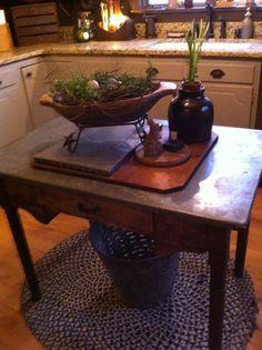 primitive table turned into kitchen island love the vignette - Primitive Kitchen Tables