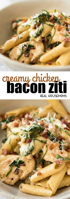 A surefire hit with everyone! Creamy Chicken Bacon Ziti is finished with a touch of fresh basil for a quick and easy dinner! #Quickdinner #Chickenbaconziti #Familyeasydinner #Realhousemoms