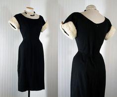 1950s Dress Vintage 50s MAN MAGNET Black Hourglass Princess Cocktail Party Dress w White Fur Trim m