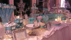 Love the Tiffanys theme... and this is a great set up for a candy buffet.  Great for a wedding shower!