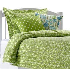 New! Green Kimono Bedding. Add Ikat Dots or Menagerie pillows. Get your bright green dorm bedding now! Buy now to save time and stress in the fall! www.amdorm.com