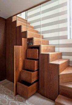 = under stairs storage idea / hidden closet / hidden drawer space