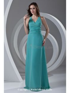 Chiffon V-Neckline Column Floor Length Prom Dress