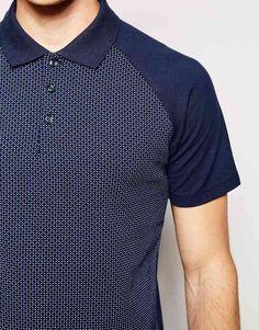 2bb3e112b Image 3 of Jack   Jones Polo Shirt with All Over Print   Contrast Raglan  Sleeves