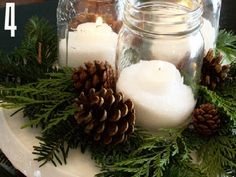 24 Christmas Centerpiece Ideas - this would be easy and inexpensive.  I like the idea of using natural items from the farm.