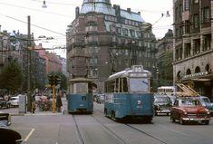Birger Jarlsgatan med spårvagnar på linje 5 - Stockholmskällan