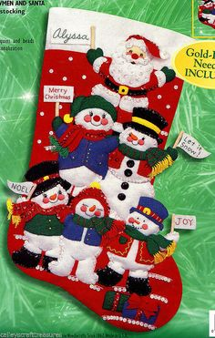 Bucilla ~ Cheerful Snowmen & Santa ~ 18 Felt Christmas Stocking Kit #84258. This is a discontinued 2000 pattern so if you love it please make sure you dont miss the chance to purchase this rare and hard to find kit. Five happy, smiling Snowmen have formed a Cheering Squad style