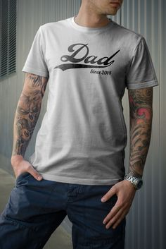 DAD Since (ANY YEAR) vintage - custom gift idea for new daddy Father's day husband newborn baby shower personalized tshirt t-shirt tee shirt by HolbertDesign on Etsy https://www.etsy.com/listing/187652161/dad-since-any-year-vintage-custom-gift