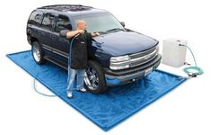Mobile Wash Mat (Item #: DE1900) Mobile Detailing Wash Mat Kits are available at Rightlook.com. Mobile Detailing Wash Mats let car care professionals wash cars anywhere while complying with local EPA regulations. Perfect for any mobile detailing business, this sturdy vinyl wash mat include a Water Reclaim Pump, hoses and a waste water tank. http://www.autodetailingwarehouse.com/car-wash-mat-mobile-detail-reclaim-detailing-auto.html#