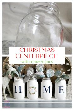 Make A Pretty Mason Jar Christmas Centerpiece perfect for your kitchen or dining room table. You can even use it to line a window sill like I will show you here. #ourcraftymom #masonjarcrafts #masonjars #christmascenterpiece #chalkcouture Christmas Mason Jars, Christmas Deco, Christmas Crafts, Xmas, Mason Jar Centerpieces, Christmas Centerpieces, Diy Pins, Mason Jar Crafts, Window Sill