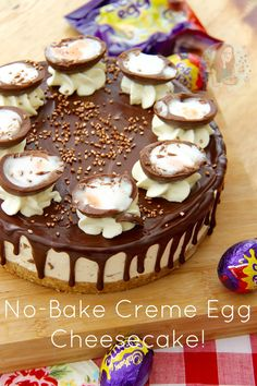 No-Bake Creme Egg Cheesecake! Delicious Vanilla Cheesecake, Buttery Biscuit Base, SO MANY CREME EGGS, and a Chocolate Drip… Hello No-Bake Creme Egg Cheesecake!