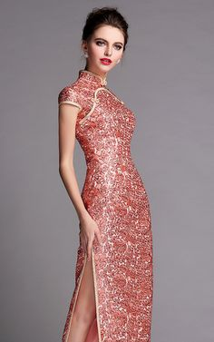 Peach gold sequins floral qipao long cap sleeve party cheongsam evening gown 005