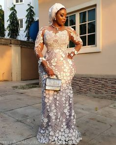 """It's Charming Asoebi Gown Styles."""" Check out these asoebi gown styles, they are really brilliant and good. Nigerian Lace Styles Dress, Lace Gown Styles, Aso Ebi Lace Styles, African Lace Styles, African Lace Dresses, African Wedding Dress, African Fashion Dresses, Trendy Ankara Styles, African Fashion Designers"""