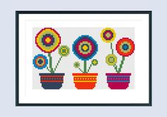 Modern cross stitch pattern flowerpot instant by SpruceXstitch