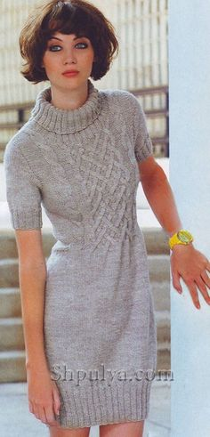 www.SHPULYA.com - Платье с плетеным узором, вязаное спицами