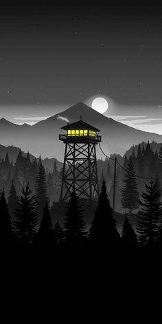 Firewatch Night iPhone Wallpaper - Wallpapers for Phones Scenery Wallpaper, Dark Wallpaper, Mobile Wallpaper, Wallpaper Backgrounds, Iphone Wallpapers, Wallpaper Jungle, Trendy Wallpaper, Fantasy Landscape, Landscape Art