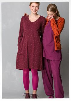 """Solid-colour and print """"Gunnel"""" dress in eco-cotton/elastane – Dresses at festive-season prices! – GUDRUN SJÖDÉN – Webshop, mail order and boutiques   Colourful clothes and home textiles in natural materials."""