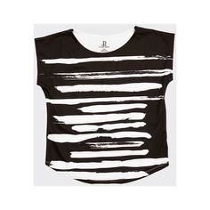 Zen Style Black and White Women's Graphic Tee (385 MYR) ❤ liked on Polyvore featuring tops, t-shirts, mixed print top, white and black top, black white t shirt, patterned tops and pattern tees