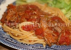 Made from a chuck or rump roast (whatever is on sale) & stewed down in a Creole Gravy - a tomato sauce seasoned with The Trinity & a pince of tomato paste for extra richness. Serve over spaghetti noodles.